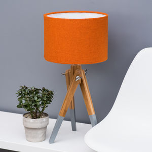 Orange Harris Tweed Wool Lampshade