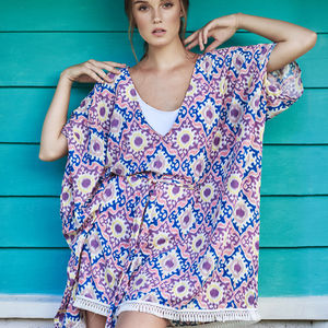 Lena Batik Tassel Kaftan - women's fashion