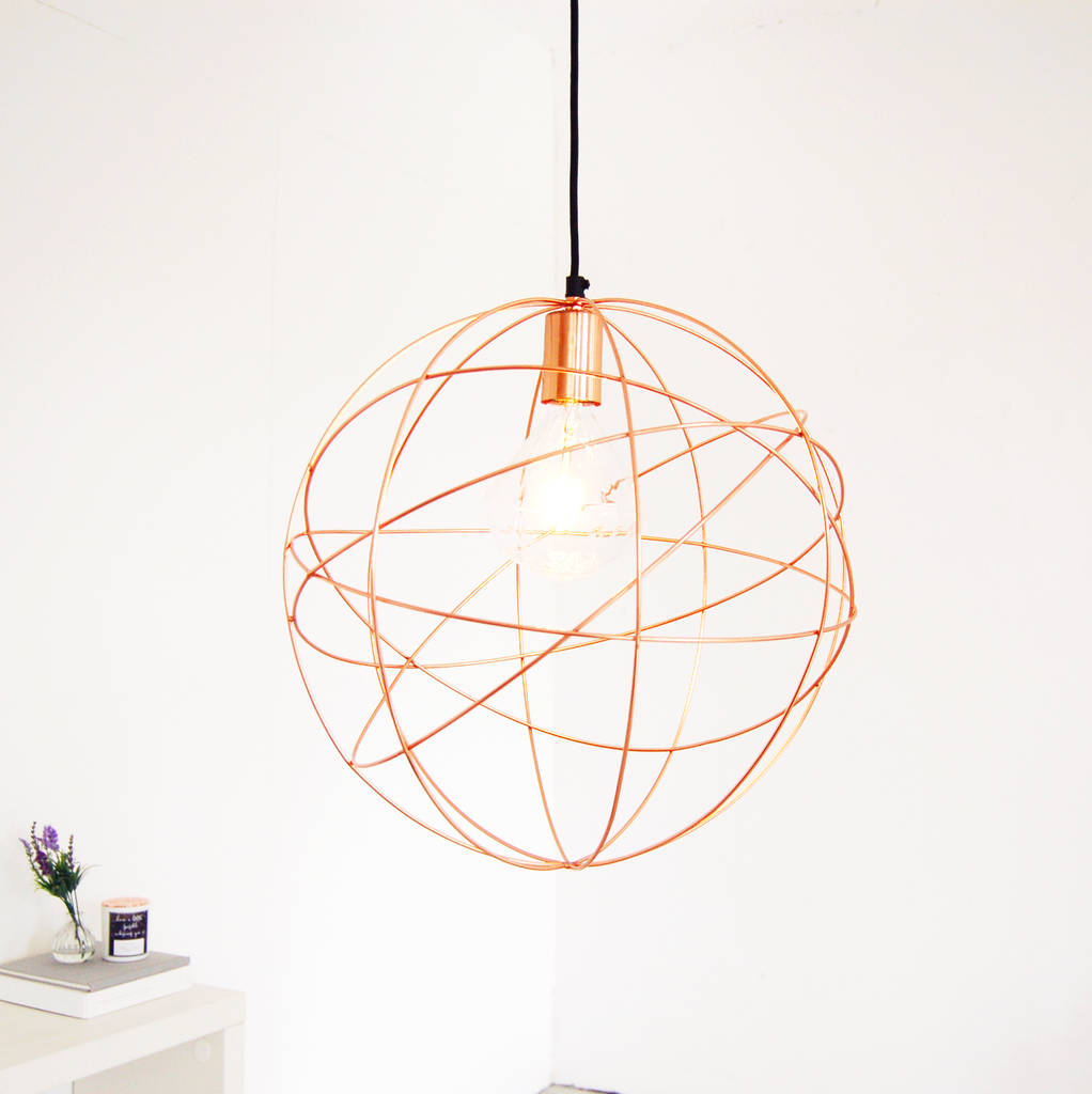 Rose gold copper globe ceiling pendant light chandelier by made with rose gold pendant light copper light aloadofball Images