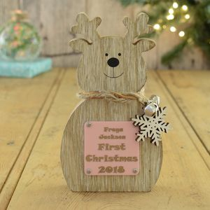 First Christmas Girls Personalised Reindeer Decoration - snow globes & ornaments