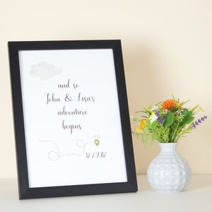 Personalised And So Our Adventure Begins Framed Print