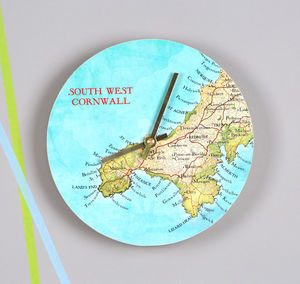 Personal Map Location Round Wall Clock For Him - gifts for travel-lovers