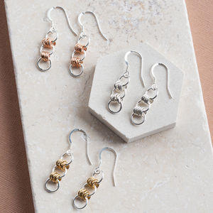Silver Earrings With Silver, Gold Or Rose Gold Links - earrings