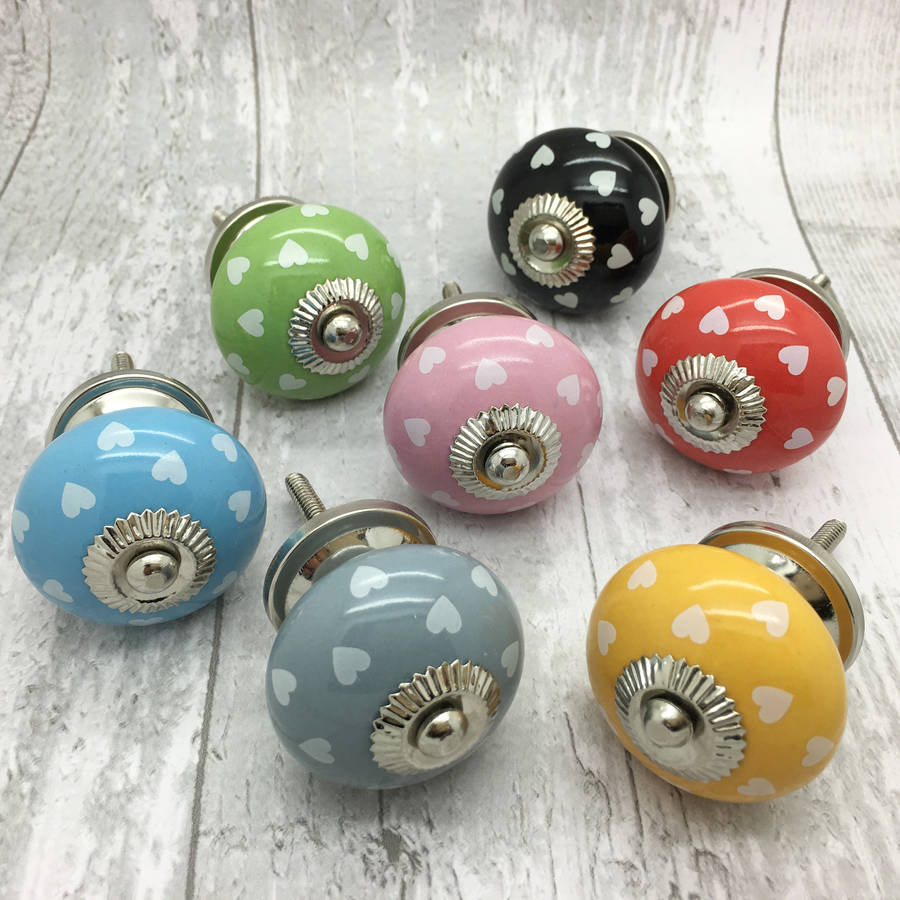 polka hearts ceramic door knobs cupboard handles by g decor ...