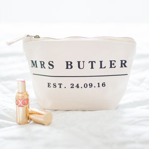 Personalised Wedding Date Make Up Essentials Bag
