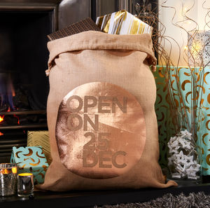 Copper Hessian Christmas Santa Sack - stockings & sacks