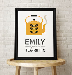Teapot Scandinavian Personalised Name Kitchen Print