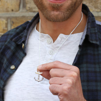 Mens Sterling Silver Anchor Pendant On Curb Chain