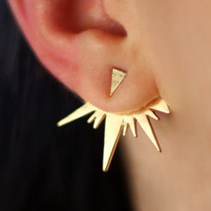 Gold Spike Ear Jacket Pair - new season