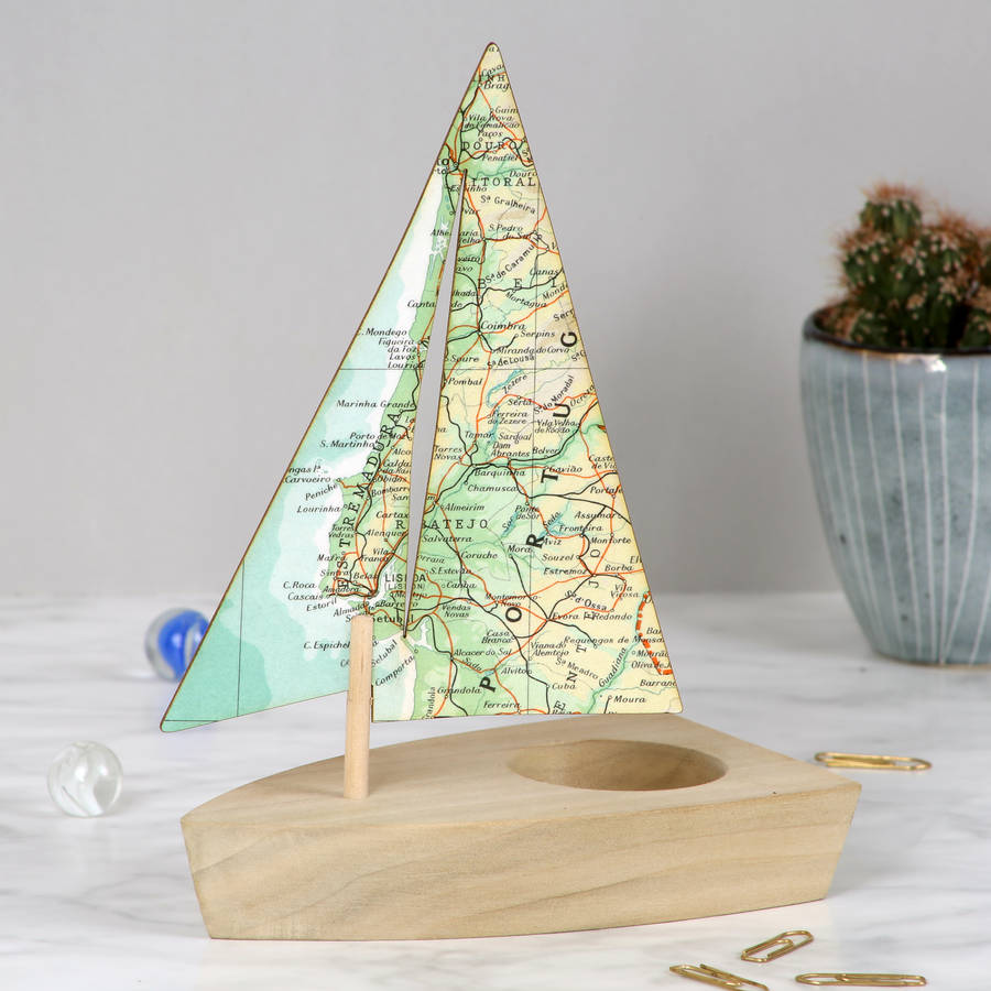 Personalised map sailing boat ornament gift for him by bombus personalised map sailing boat ornament gift for him gumiabroncs Gallery