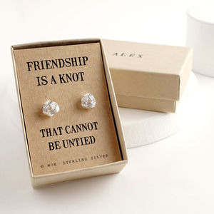 Personalised Silver Friendship Knot Cufflinks - winter sale