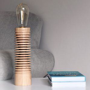 Branscombe Ash Wood Table Lamp With Edison Light Bulb - lighting