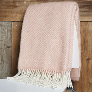 Rose Pink Lambswool Throw - throws, blankets & fabric