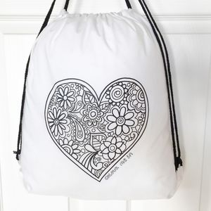Drawstring Bag To Colour In With Heart