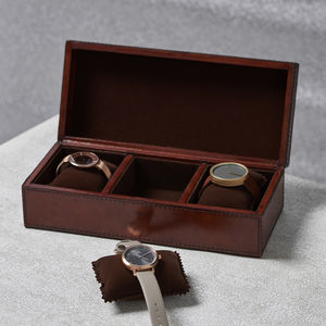 Personalised Ladies Leather Watch Box Large - storage & organisers
