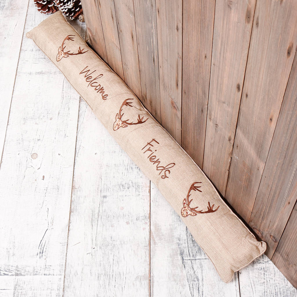 Welcome Deer Friends Fabric Draught Excluder