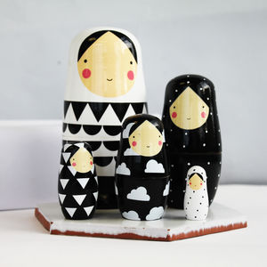 Black And White Wooden Nesting Dolls - traditional toys & games