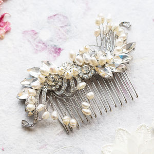 Katie Crystal And Pearl S Shape Hair Comb - accessories