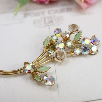 Vintage 1930's Flower And Diamante Brooch
