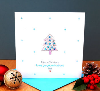 A Personalised Blue Christmas Tree Card Husband Wife