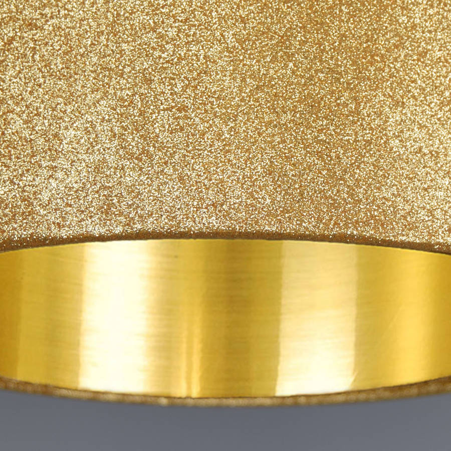 Gold Glitter Lampshade With Glitter Or Metallic Lining By