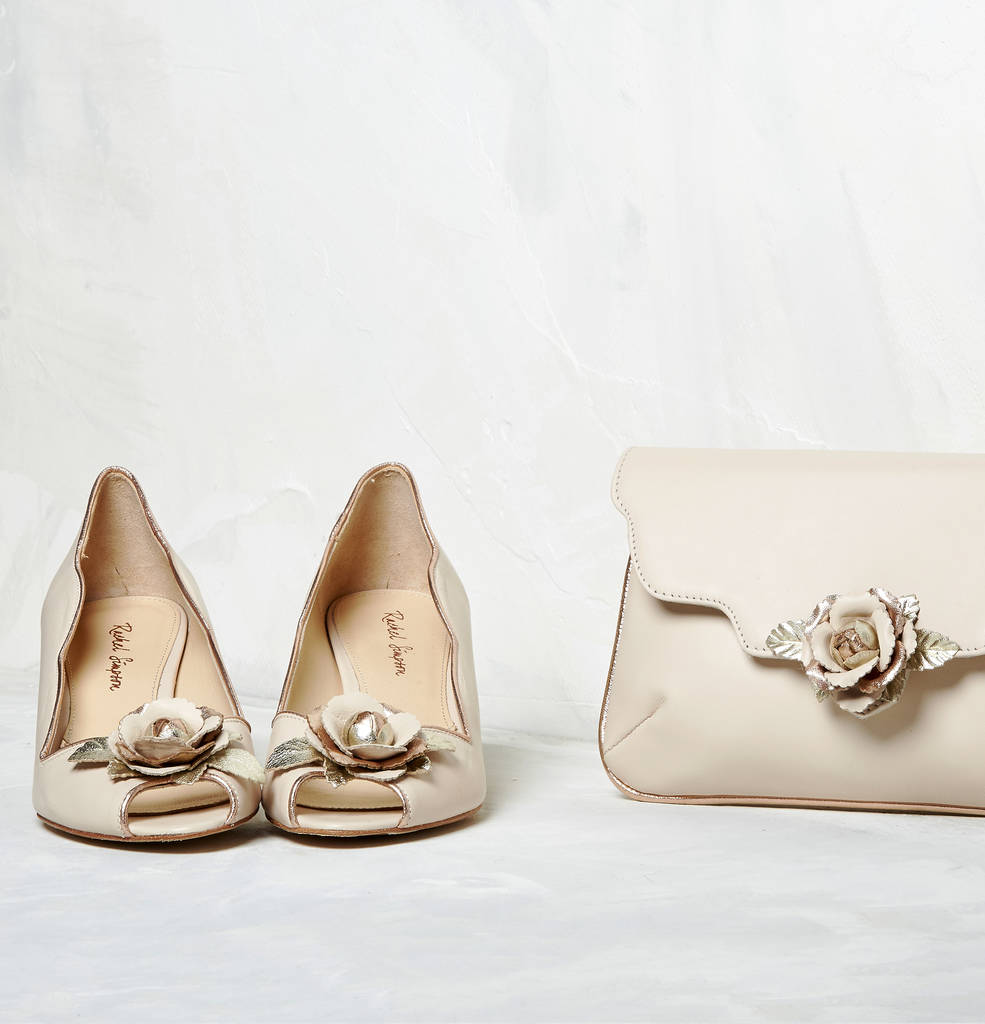 Grace Blush Ivory Leather Peep Toe Wedding Shoes