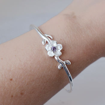 Sterling Silver Crystal Flower Bangle