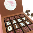 Personalised New Baby Girl Message Chocolates