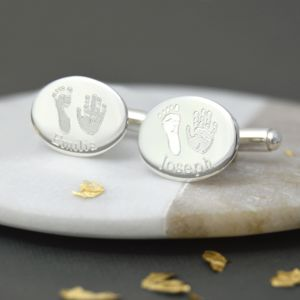 Engraved Oval Handprint And Footprint Cufflinks - cufflinks