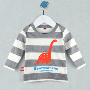 Personalised Baby Dinosaur T Shirt/Babygrow - clothing