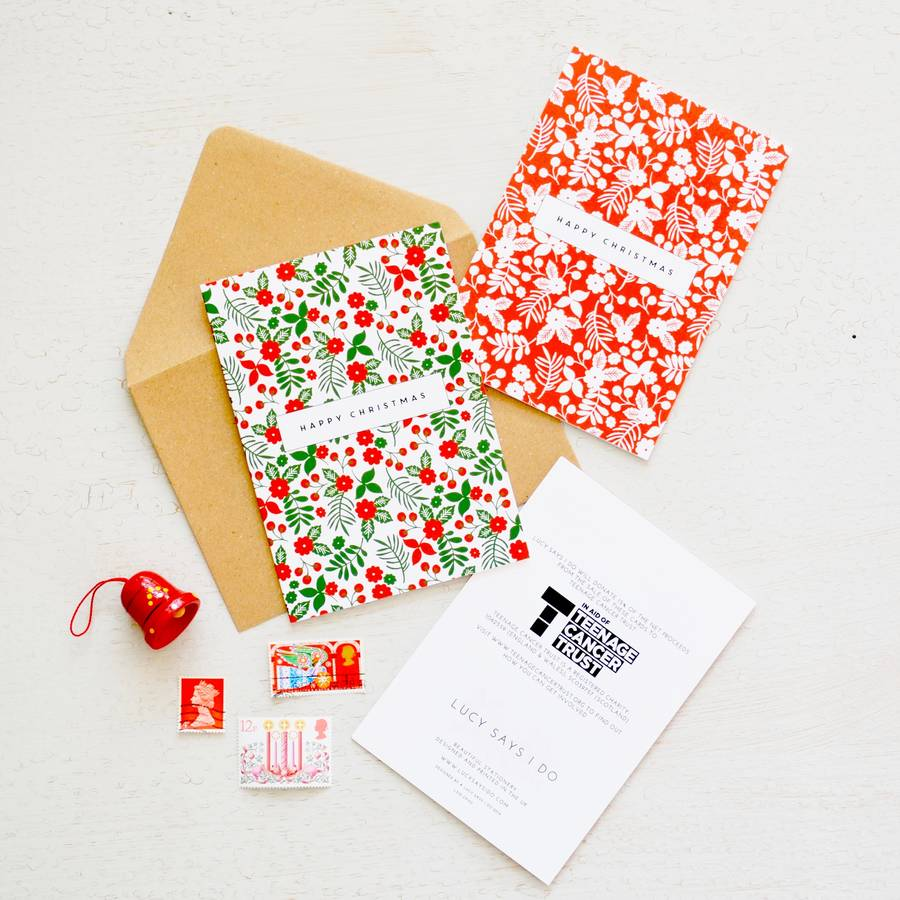 floral festive charity christmas cards *special offer* by lucy says ...