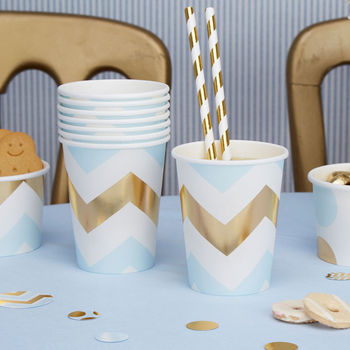 Blue Chevron Party Cups