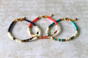 Children's Semi Precious Stone And Brass Bead Bracelet