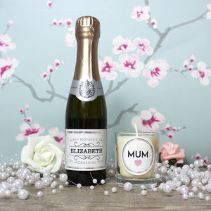 Personalised Mini Prosecco And Candle *Mum* Gift Set