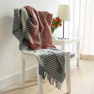 Red Navy Merino And Mohair Wool Throw Michaela - throws, blankets & fabric