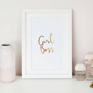 'Girl Boss' Foil Wall Art Print - posters & prints