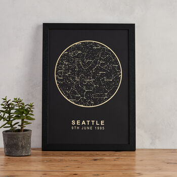 Black And Gold Metallic Map Of The Stars Print