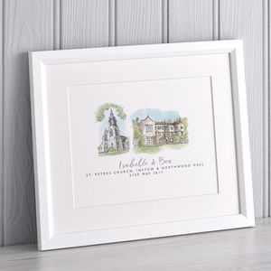 Double Wedding Venue Watercolour Portrait - posters & prints