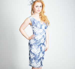Blue / Silver Printed Organza Pencil Dress