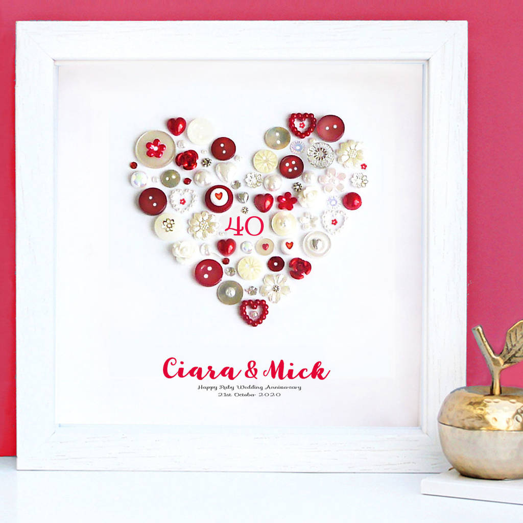 personalised ruby anniversary heart art gift by sweet dimple ...