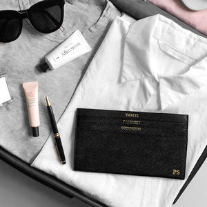 Personalised Leather Slim Travel Document Wallet - for travel-lovers