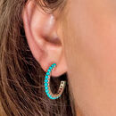 Halo Radiance Turquoise Hoops In Silver