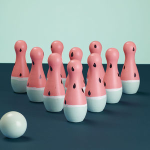 Wooden Watermelon Bowling Pins - toys & games