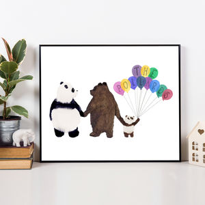 Personalised New Baby Family Of Bears Print