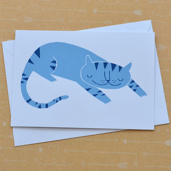 Blue Stripe Cat Hand Screenprinted Card