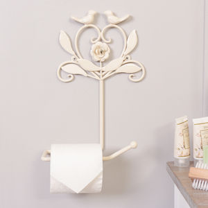 Heart And Birds Ivory Toilet Roll Holder