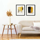 Mustard Yellow Abstract Wall Art Set Of Two Prints
