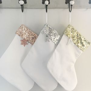 Christmas Sequin Stocking With Personalised Charm