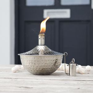 Silver Garden Oil Lamp - outdoor lights