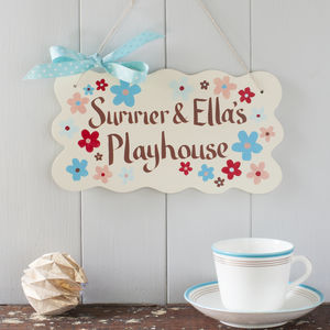 Personalised Handpainted Red And Blue Floral Door Sign - children's room